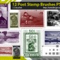12 Postage Stamps Photoshop Brushes