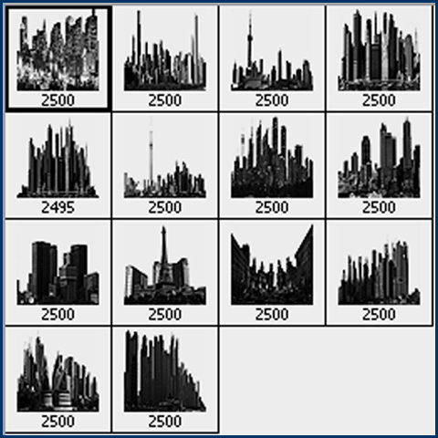 Below is the preview of the city skyline Photoshop brushes when installed in