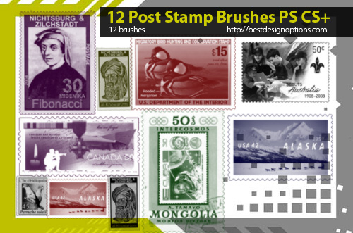 postage stamps photoshop brushes