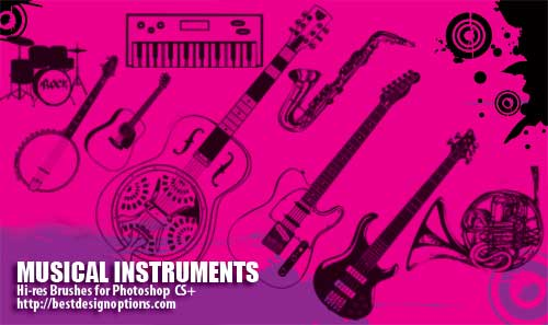 musical instruments Photoshop Brushes