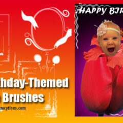 12 Photoshop Brushes for Making Birthday Postcards