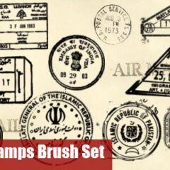 12 Post Stamps Photoshop Brushes