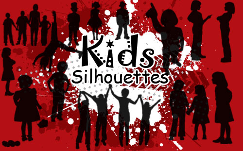 children silhouettes photoshop brushes