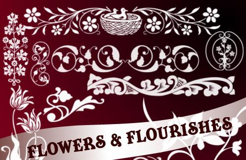 Decorative Flowers Photoshop Brushes