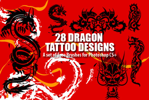 There are a total of 28 dragon tattoo designs Photoshop