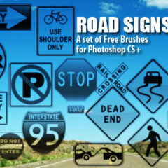 23 Road Signs Photoshop Brushes
