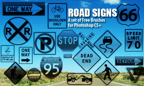 Road Signs Photoshop Brushes