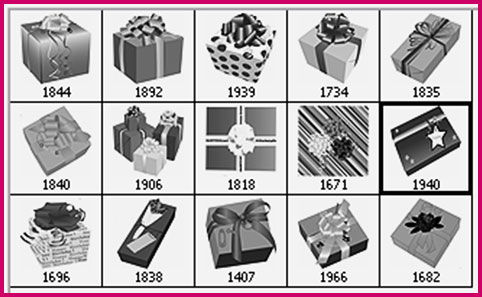 wrapped gifts Photoshop brushes