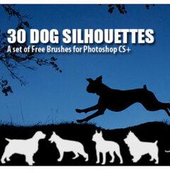 30 Dog Silhouettes Photoshop Brushes