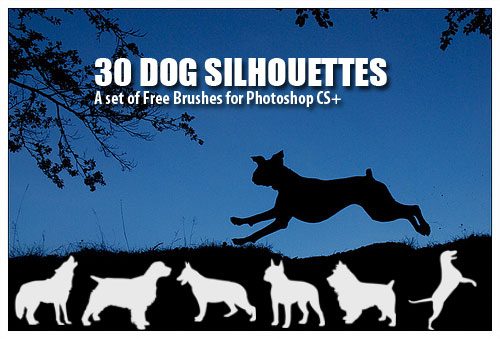 dog silhouettes Photoshop brushes