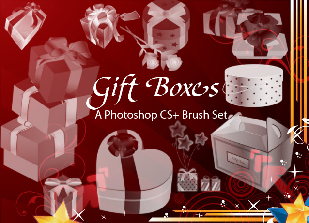 gift boxes photoshop brushes