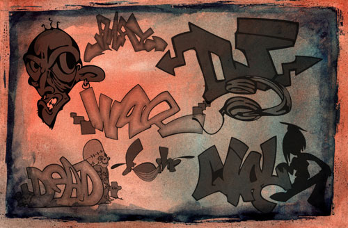 graffiti letters Photoshop brushes