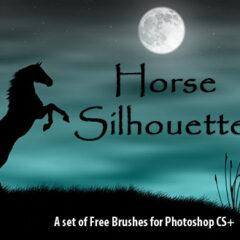 25 Horse Silhouettes Photoshop Brushes