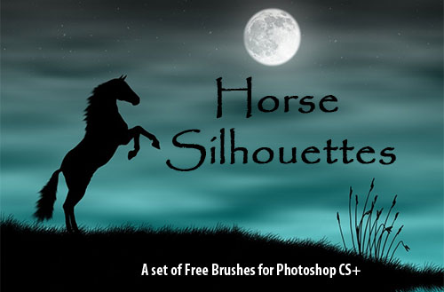 horse silhouettes Photoshop brushes