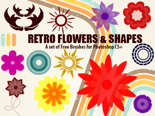 retro flowers photoshop brushes