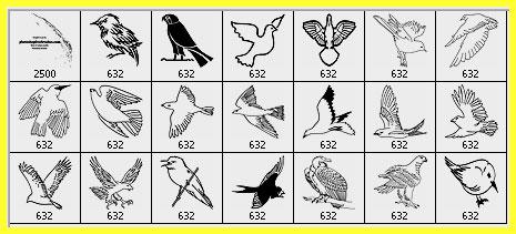 bird clip art Photoshop brushes