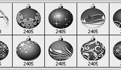 10 Christmas Balls Photoshop Brushes