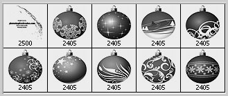 Christmas balls Photoshop brushes