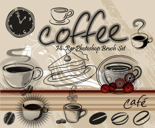 coffee clip art photoshop brushes