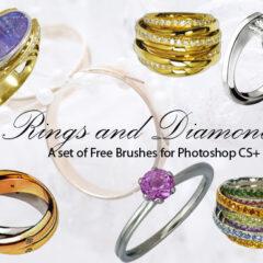32 Diamond Engagement Rings Photoshop Brushes