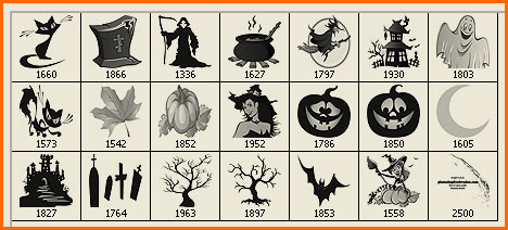 Halloween clip art Photoshop brushes