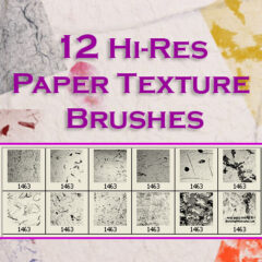 12 Hi-Res Paper Texture Photoshop Brushes