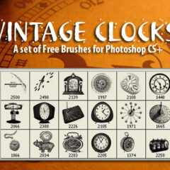 18 High-Res Vintage Clocks Photoshop Brushes
