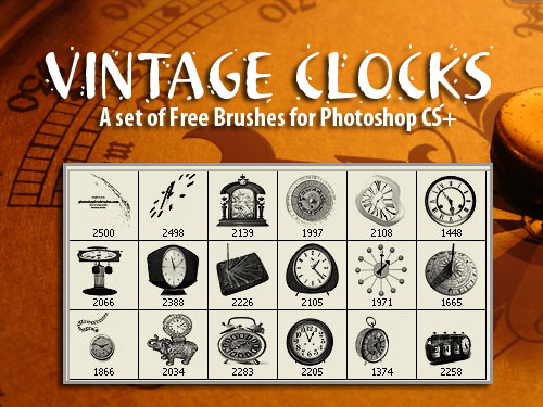 vintage clocks photoshop brushes