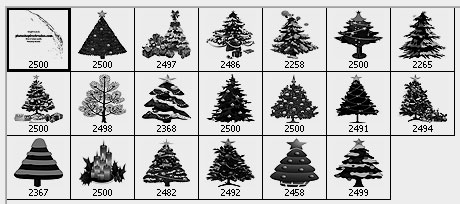 christmas tree clip art Photoshop brushes