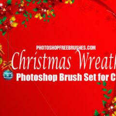 16 Christmas wreaths Photoshop brushes