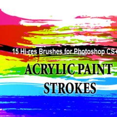 Grunge Brushes: 18 Acrylic Paint Strokes