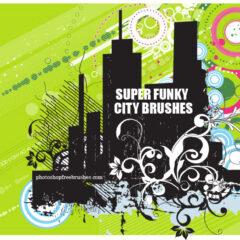 Funky City Skyline Photoshop Brushes