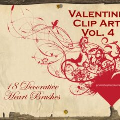 Valentine Clip Art IV: 18 Heart Photoshop Brushes