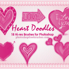 Valentine Clip Art Photoshop Brushes VI: 18 Heart Doodles