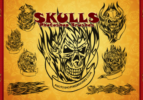 This set of skull tattoos Photoshop brushes was created in Photoshop CS2.