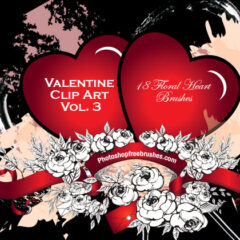 Valentine Clip Art Volume III: 18 Flowery Heart Brushes