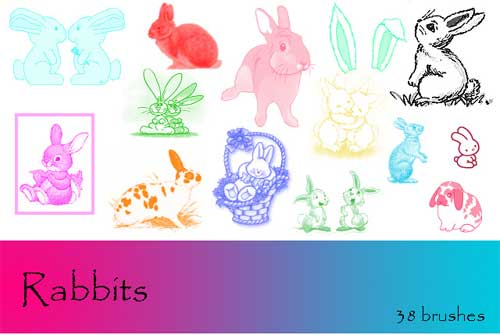 rabbits and bunnies photoshop brushes