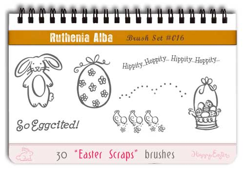 easter egg and bunnies photoshop brushes