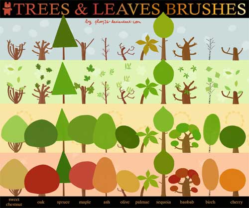 vector trees and leaves photoshop brushes