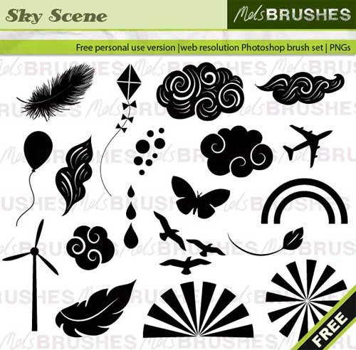 sky and clouds vector photoshop brushes