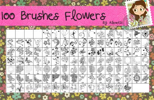 flowers decorative photoshop brushes