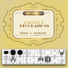 18 Labels Photoshop Brushes and Decorative Ornaments