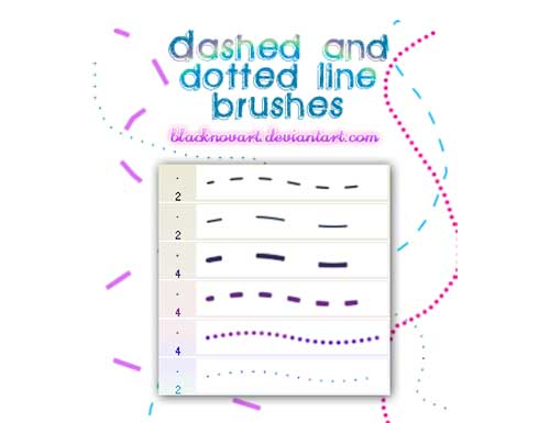 dashed and dotted line photoshop brushes