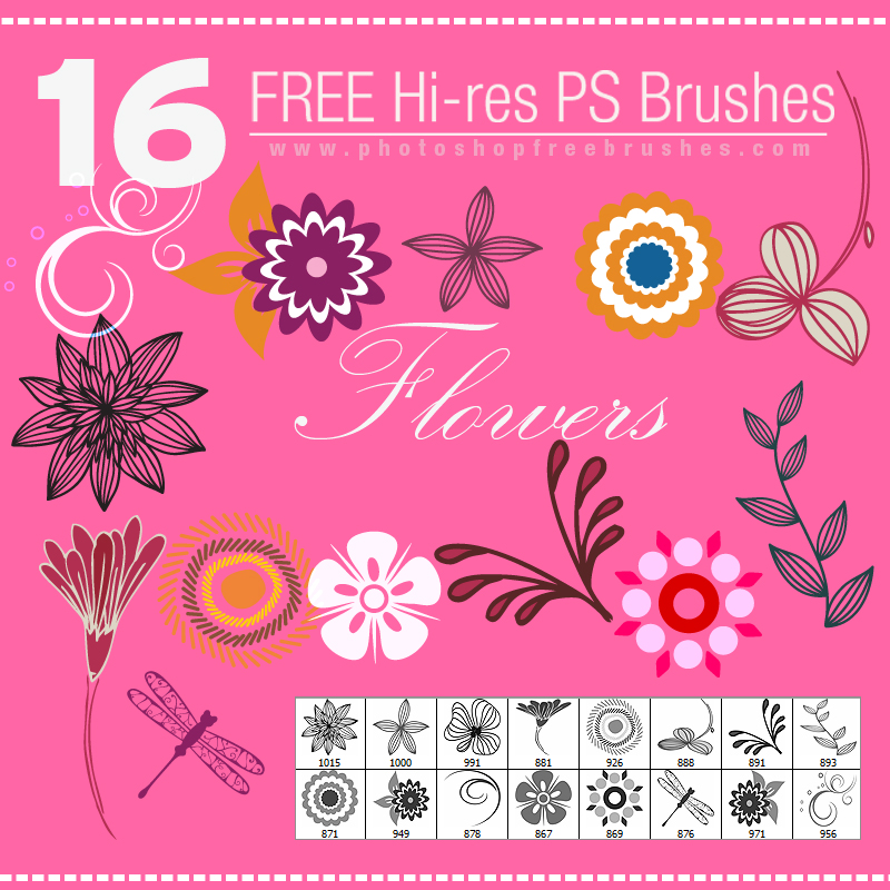free flower and leaves photoshop brushes