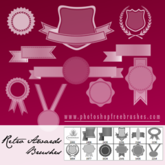 Retro Ribbons, Banners and Medals Brushes for Photoshop