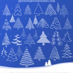Free PS Brushes: Christmas Tree Doodles
