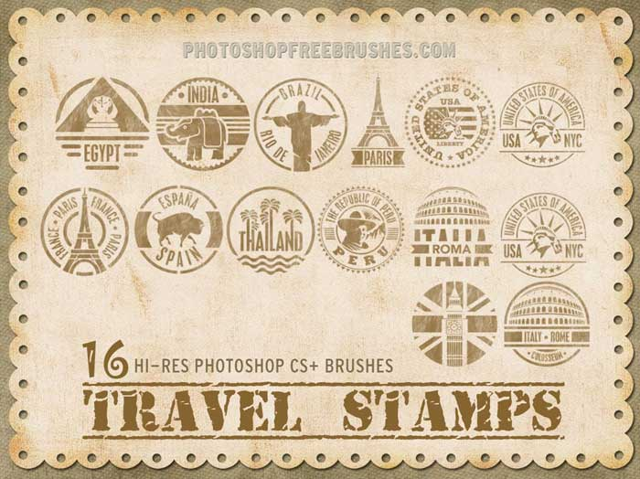 travel stamps brushes