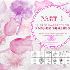 13 Free Watercolor Flower Brushes for Photoshop