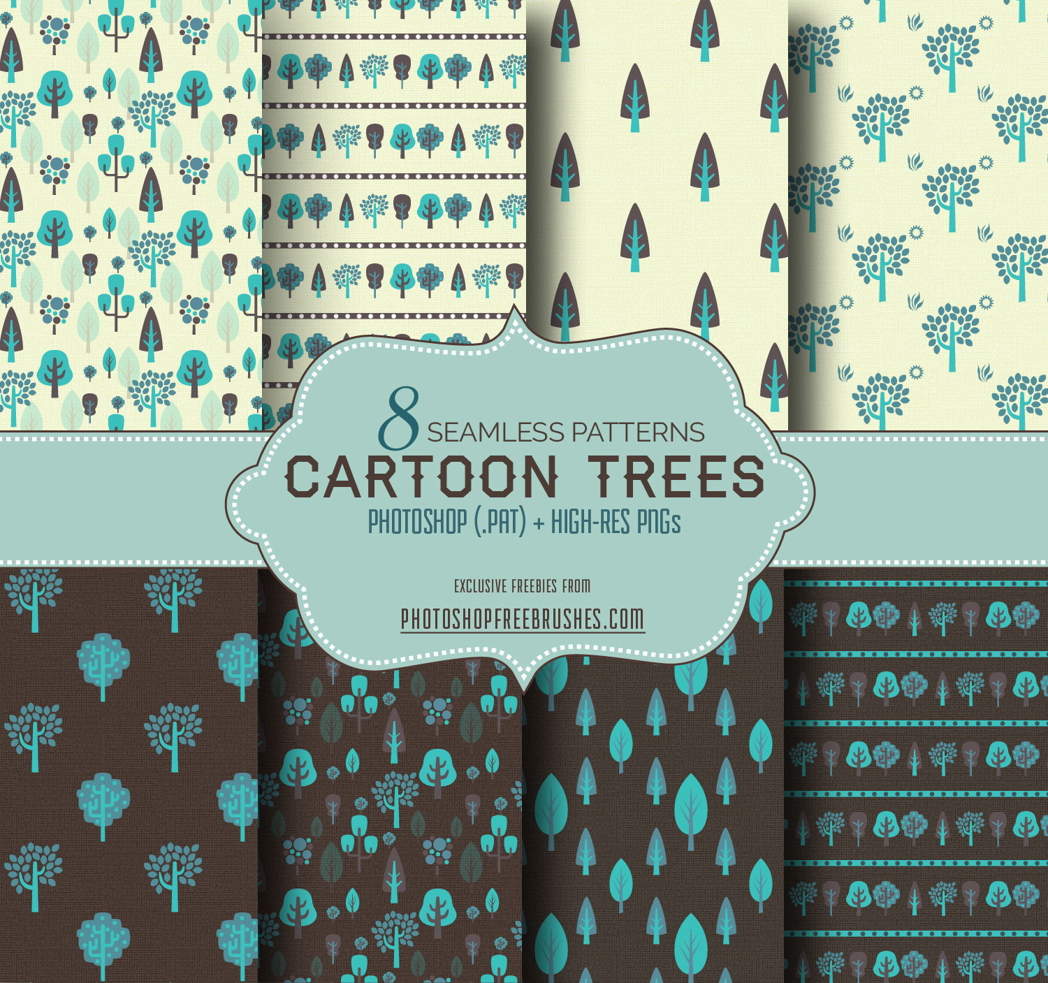 free seamless trees background pattern