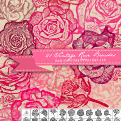 21 Vintage Rose Flower Brushes for Photoshop